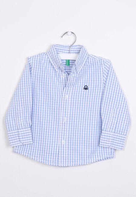Wit-lichtblauw hemdje, Benetton, 80