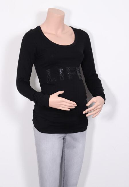 Zwarte longsleeve, Queen Mum, XS