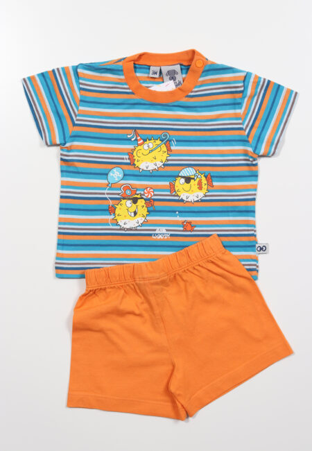 Blauw-oranje pyjama, Little Woody, 62