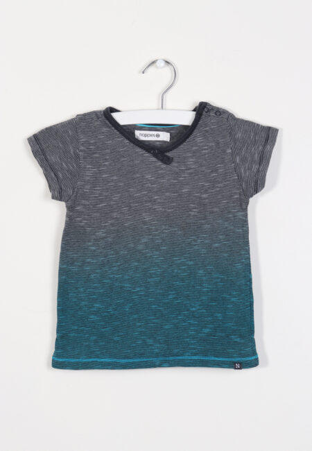 Grijs-turquoise t-shirtje, Noppies, 80