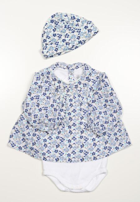 Blauw-wit kleedje, Petit Bateau, 68