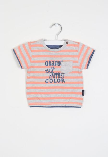 Grijs-oranje t-shirtje, Noppies, 68
