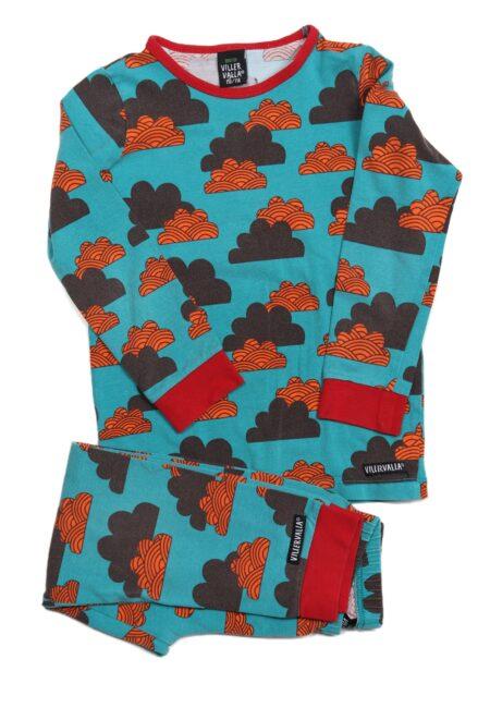 Turquoise oranje pyjama, Villervalla, 104