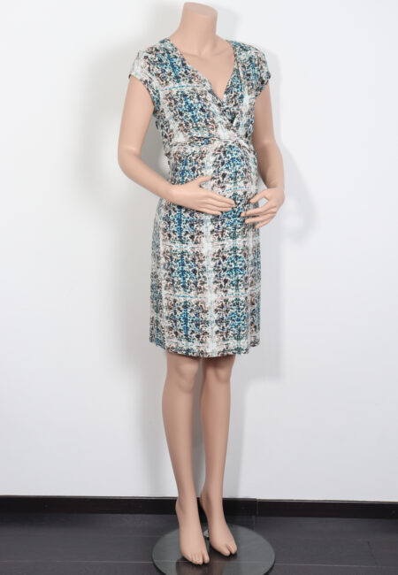 Ecru-blauw kleedje, Queen Mum, M